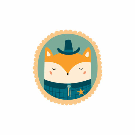 Hand drawn vector illustration of a cute funny portrait in a frame of sheriff fox. Isolated objects. Scandinavian style flat design. Concept for children print.
