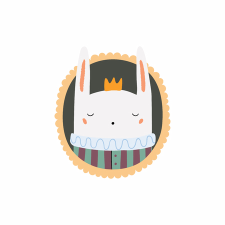 Hand drawn vector illustration of a cute funny portrait in a frame of king bunny. Isolated objects. Scandinavian style flat design. Concept for children print.