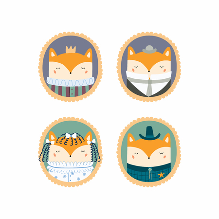 Set of hand drawn cute funny portraits in frames of foxes, king, sheriff, Victorian gentleman, lady. Vector illustration. Isolated objects. Scandinavian style flat design. Concept for children print.