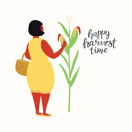 Hand drawn vector illustration of a cute funny beautiful woman picking corn, with lettering quote Happy Harvest Time. Isolated objects on white background. Flat style design. Concept autumn harvest.