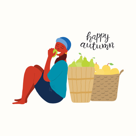 Hand drawn vector illustration of a cute funny girl eating apple, baskets of apples, pears, with lettering quote Happy autumn. Isolated objects on white background. Flat style design. Concept harvest.