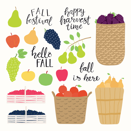 Autumn harvest set with baskets with grapes, apples, pears, cranberries, blueberries, lettering quotes. Isolated objects on white background. Hand drawn vector illustration. Flat style design.