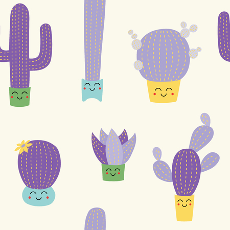Hand drawn seamless vector pattern with cute different cacti in flower pots with kawaii faces, on a white background. Flat style design. Concept for floral textile print, wallpaper, wrapping paper.