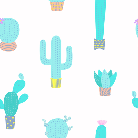 Hand drawn seamless vector pattern with cute different cacti in flower pots, on a white background. Flat style design. Concept for floral textile print, wallpaper, wrapping paper.
