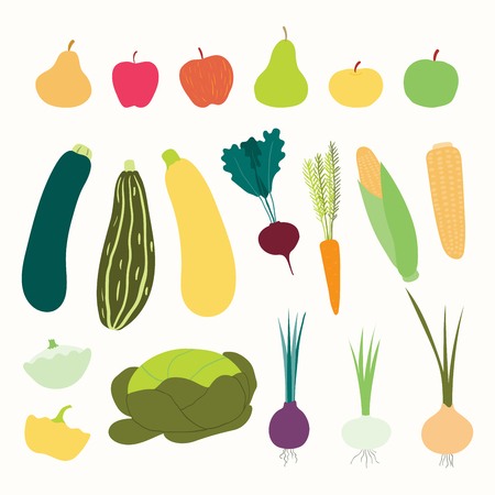 Big autumn harvest set with different fruits and vegetables. Isolated objects on white background. Hand drawn vector illustration. Flat style design. Concept for fall, healthy eating, gardening.