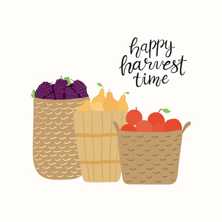 Hand drawn vector illustration of baskets with grapes, apples, pears, with lettering quote Happy Harvest Time. Isolated objects on white background. Flat style design. Concept for autumn harvest.