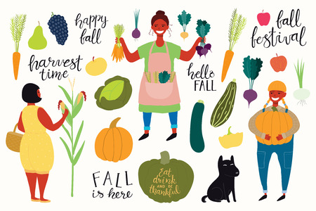 Big autumn harvest set with beautiful funny women picking corn, beets, carrots, pumpkin, dog, quotes, fruits, vegetables. Isolated objects on white background. Vector illustration. Flat design Stock Illustratie