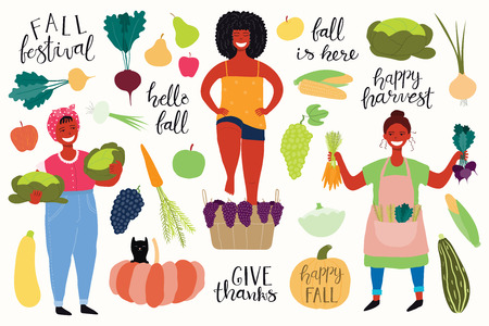Big autumn harvest set with beautiful funny women picking cabbages, beets, carrots, stomping grapes, quotes, fruits, vegetables. Isolated objects on white background. Vector illustration. Flat design.  イラスト・ベクター素材