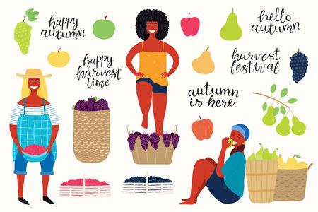 Gran cosecha de otoño con hermosas mujeres divertidas recogiendo arándanos, manzanas, peras, uvas pisando fuerte, citas, frutas, bayas. Objetos aislados sobre fondo blanco. Ilustración de vector. Diseño plano. Ilustración de vector