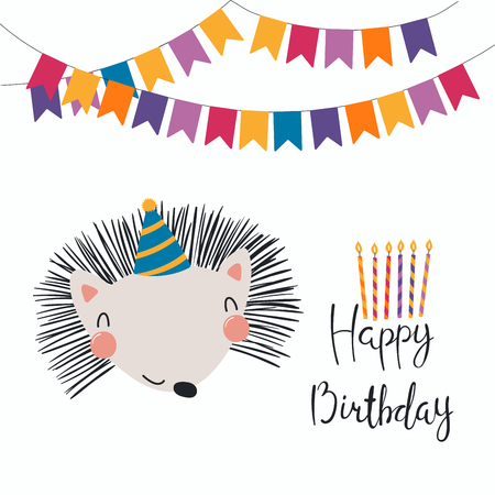 Hand drawn birthday card with cute funny hedgehog in a party hat, bunting, lettering quote Happy birthday. Isolated objects. Scandinavian style flat design. Vector illustration. Concept for kids print