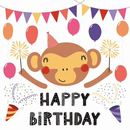 Hand drawn birthday card with cute funny monkey in a party hat, bunting, poppers, balloons, sparklers, quote. Isolated objects. Scandinavian style flat design. Vector illustration. Concept kids print.