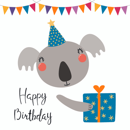 Hand drawn birthday card with cute funny koala in a party hat, bunting, present, quote Happy birthday. Isolated objects. Scandinavian style flat design. Vector illustration. Concept for kids print. Illustration