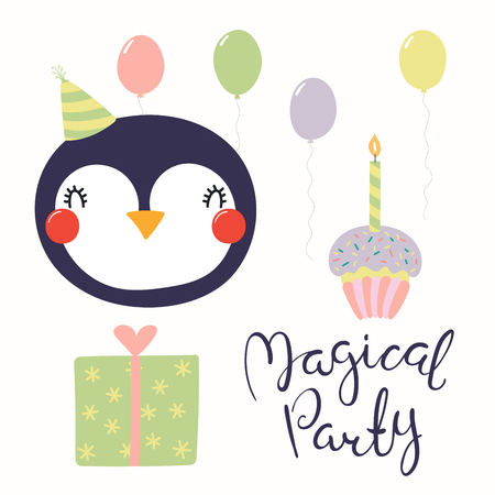 Hand Drawn Birthday Card With Cute Funny Penguin In A Party Hat