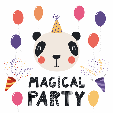 Hand drawn birthday card with cute funny panda in a party hat, balloons, poppers, quote Magical party. Isolated objects. Scandinavian style flat design. Vector illustration. Concept for kids print.