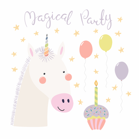 Hand drawn birthday card with cute funny unicorn, balloons, cupcake, quote Magical party. Isolated objects. Scandinavian style flat design. Vector illustration. Concept for kids print.
