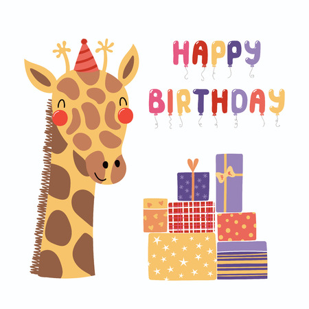 Hand Drawn Birthday Card With Cute Funny Giraffe In A Party Hat Presents Balloons