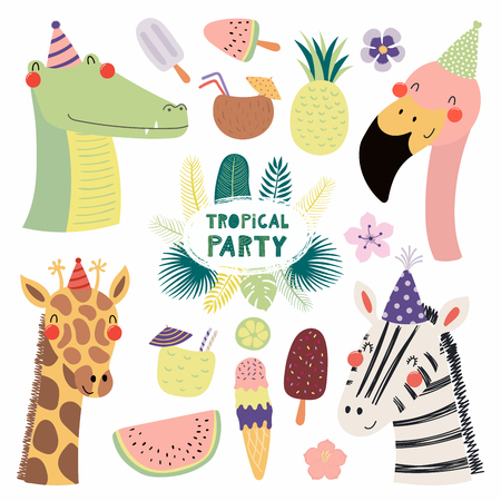Hand drawn vector illustration of a cute funny crocodile, flamingo, giraffe, zebra in party hats, with fruit, ice cream, cocktails, quote. Isolated objects. Scandinavian style flat design. Invitation.