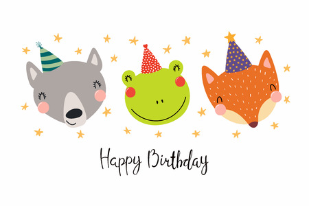 Hand drawn birthday card with cute funny wolf, frog, fox in party hats, stars, quote Happy birthday. Isolated objects. Scandinavian style flat design. Vector illustration. Concept for kids print.