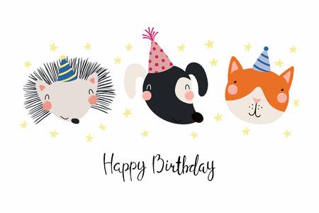 Hand Drawn Birthday Card With Cute Funny Dog Cat Hedgehog In