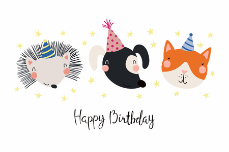 Hand drawn birthday card with cute funny dog, cat, hedgehog in party hats, stars, quote Happy birthday. Isolated objects. Scandinavian style flat design. Vector illustration. Concept for kids print. Illustration