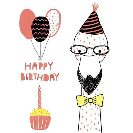 Hand drawn birthday card with cute funny flamingo in a party hat, balloons, cupcake, lettering quote Happy birthday. Isolated objects. Line drawing. Vector illustration. Design concept children print.