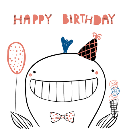 Hand drawn birthday card with cute funny whale in a party hat, balloon, ice cream, lettering quote Happy birthday. Isolated objects. Line drawing. Vector illustration. Design concept for kids print.