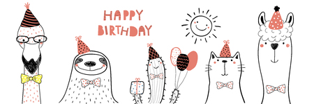 Hand drawn birthday card with cute funny flamingo, sloth, cactus, cat, llama in party hats, lettering quote Happy birthday. Isolated objects. Line drawing. Vector illustration. Design concept kids Vettoriali