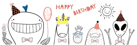 Hand drawn birthday card with cute funny whale, unicorn, pineapple, platypus, alien in party hats, lettering Happy birthday. Isolated objects. Line drawing. Vector illustration. Design concept kids Illustration