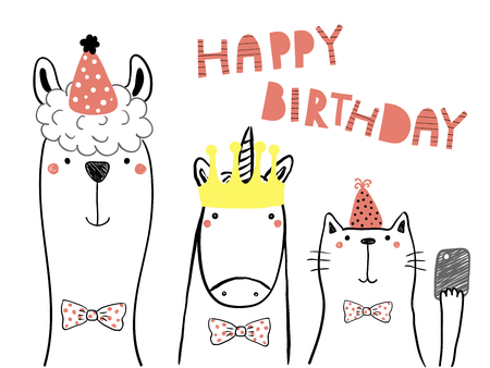 Hand drawn birthday card with cute funny llama, unicorn, cat in party hats, taking selfie with a smart phone,quote. Isolated objects. Line drawing. Vector illustration. Design concept for kids print.
