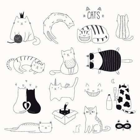 Satz niedliche lustige schwarze und weiße Kritzeleien von verschiedenen Katzen. Isolierte Objekte. Hand gezeichnete Vektorillustration. Strichzeichnung. Designkonzept für Plakat, T-Shirt, Modedruck.