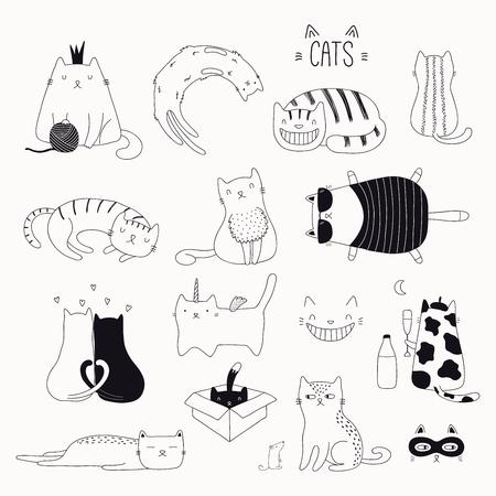 Set di simpatici scarabocchi divertenti in bianco e nero di diversi gatti. Oggetti isolati. Illustrazione vettoriale disegnato a mano. Linea di disegno. Concetto di design per poster, t-shirt, stampa di moda.