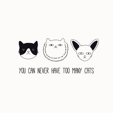 Hand drawn black and white vector illustration of a cute funny cat faces, with quote You can never have too many cats. Isolated objects. Line drawing. Design concept for poster, t-shirt print.