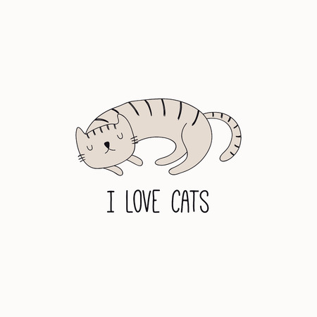 Illustration vectorielle dessinés à la main d'un chat endormi drôle mignon, avec citation J'adore les chats. Objets isolés sur fond blanc. Dessin au trait. Concept de design pour affiche, impression de t-shirt.