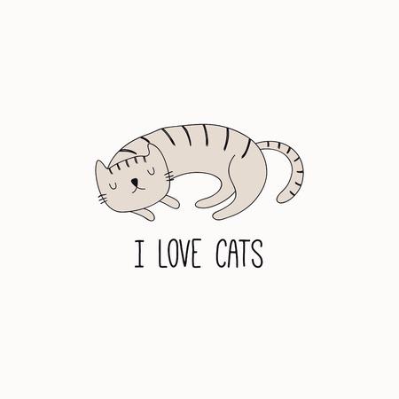 Hand gezeichnete Vektorillustration einer niedlichen lustigen schlafenden Katze, mit Zitat ich liebe Katzen. Isolierte Objekte auf weißem Hintergrund. Strichzeichnung. Designkonzept für Plakat, T-Shirt Druck. Vektorgrafik