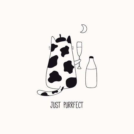 Hand drawn black and white vector illustration of a cute funny cat in a beret, drinking milk, with quote Just purrfect. Isolated objects. Line drawing. Design concept for poster, t-shirt print.
