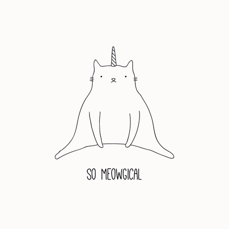 Hand drawn black and white vector illustration of a cute funny cat with unicorn horn, sitting, with quote So meowgical. Isolated objects. Line drawing. Design concept for poster, t-shirt print.