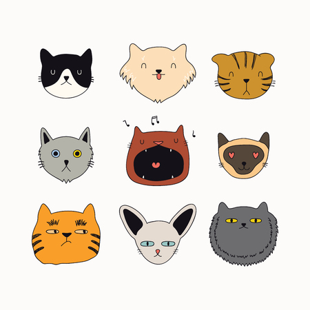 Set of cute funny color doodles of different cats faces. Isolated objects on white background. Hand drawn vector illustration. Line drawing. Design concept for poster, t-shirt, fashion print. Illustration