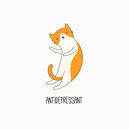 Hand drawn vector illustration of a cute funny cat, lying on its back, with quote Antidepressant. Isolated objects on white background. Line drawing. Design concept for poster, t-shirt print.