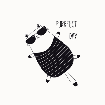 Hand drawn black and white vector illustration of a cute funny cat in a swimsuit, sunglasses, with quote Purrfect day. Isolated objects. Line drawing. Design concept for poster, t-shirt print.
