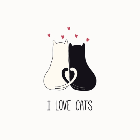 Hand drawn vector illustration of a cute funny cats together, hearts, with quote I love cats. Isolated objects on white background. Line drawing. Design concept for poster, t-shirt print.
