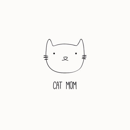 Hand drawn black and white vector illustration of a cute funny cat face, with quote Cat mom. Isolated objects. Line drawing. Design concept for poster, t-shirt print.