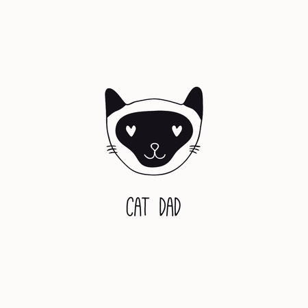 Hand drawn black and white vector illustration of a cute funny cat face, with quote Cat dad. Isolated objects. Line drawing. Design concept for poster, t-shirt print.