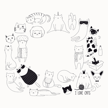 Set of cute funny black and white doodles of different cats. Round frame with copy space. Isolated objects. Hand drawn vector illustration. Line drawing. Design concept for poster, t-shirt print. Illustration