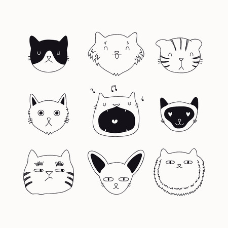 Set of cute funny black and white doodles of different cats faces. Isolated objects. Hand drawn vector illustration. Line drawing. Design concept for poster, t-shirt, fashion print. Çizim
