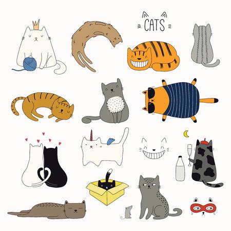 Conjunto de lindos garabatos de colores divertidos de diferentes gatos. Objetos aislados sobre fondo blanco. Ilustración de vector dibujado a mano. Dibujo lineal. Concepto de diseño de carteles, camisetas, estampados de moda.