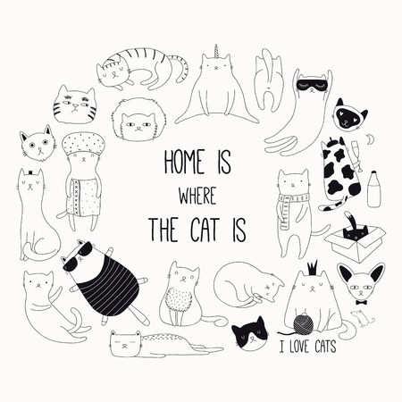 Set of cute funny black and white doodles of different cats. Round frame with quote. Isolated objects. Hand drawn vector illustration. Line drawing. Design concept for poster, t-shirt print.