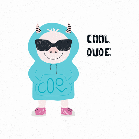 Hand drawn vector illustration of a cute funny monster in sunglasses and hoodie, with quote Cool dude. Isolated objects on white background. Design concept for children print.