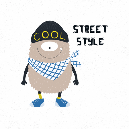 Hand drawn vector illustration of a cute funny monster in beanie, bandana and sneakers, with quote Street style. Isolated objects on white background. Design concept for children print. Illustration