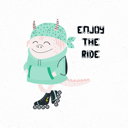 Hand drawn vector illustration of a cute funny monster in hoodie and bandana, riding roller blades, with quote Enjoy the ride. Isolated objects on white background. Concept for children print.