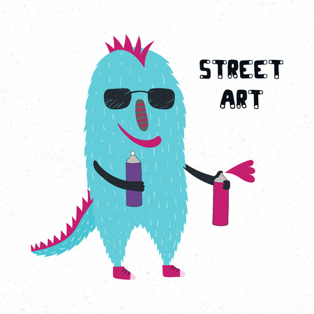 Hand drawn vector illustration of a cute funny monster in sunglasses, holding spray cans, with quote Street art. Isolated objects on white background. Design concept for children print. Illustration